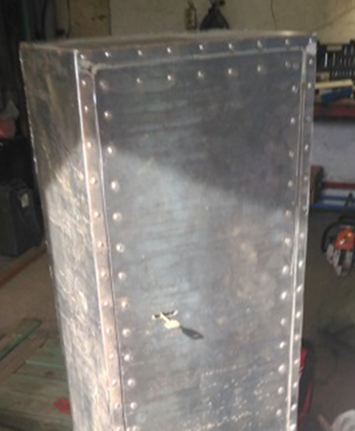 Handmade metal safe, without finishing